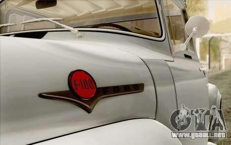 Ford F100 1956 para la visión correcta GTA San Andreas