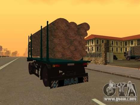 Trailer de MAZ 6430 para GTA San Andreas vista posterior izquierda