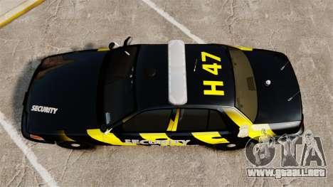 Ford Crown Victoria 2008 Security Patrol [ELS] para GTA 4 visión correcta