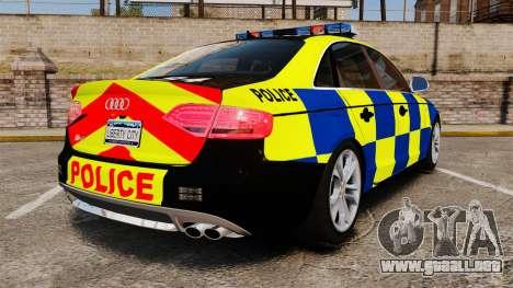 Audi S4 Police [ELS] para GTA 4 Vista posterior izquierda