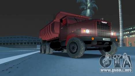 Camión KrAZ 255 para GTA Vice City vista posterior