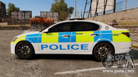 Lexus GS350 West Midlands Police [ELS] para GTA 4 left