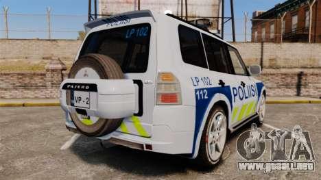 Mitsubishi Pajero Finnish Police [ELS] para GTA 4 Vista posterior izquierda