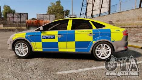 Ford Mondeo Metropolitan Police [ELS] para GTA 4 left