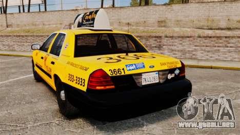 Ford Crown Victoria 1999 SF Yellow Cab para GTA 4 Vista posterior izquierda