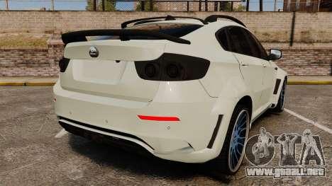 BMW X6 M HAMANN 2012 para GTA 4 Vista posterior izquierda