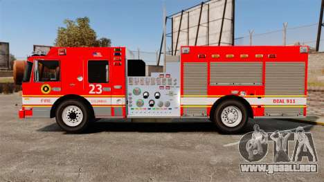Division on Fire Columbus Firetruck [ELS] para GTA 4 left