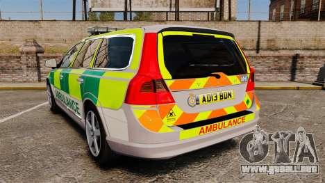 Volvo V70 Ambulance [ELS] para GTA 4 Vista posterior izquierda