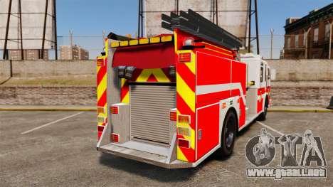 Firetruck Woonsocket [ELS] para GTA 4 Vista posterior izquierda