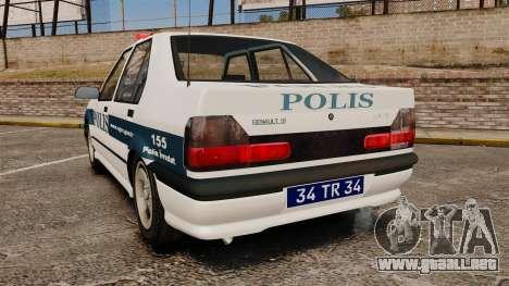 Renault 19 Turkish Police para GTA 4 Vista posterior izquierda