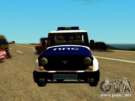 UAZ Hunter PPP para GTA San Andreas vista hacia atrás