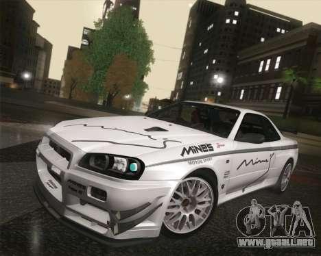 Nissan Skyline Mines R34 2002 para visión interna GTA San Andreas
