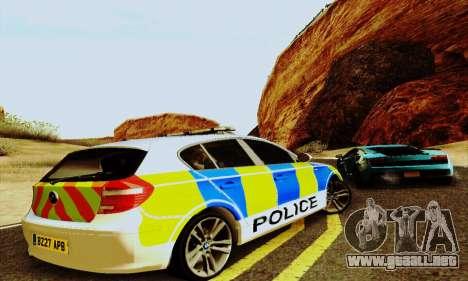 BMW 120i SE Police para GTA San Andreas vista hacia atrás