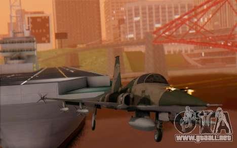 F-5 Tiger II para GTA San Andreas vista hacia atrás