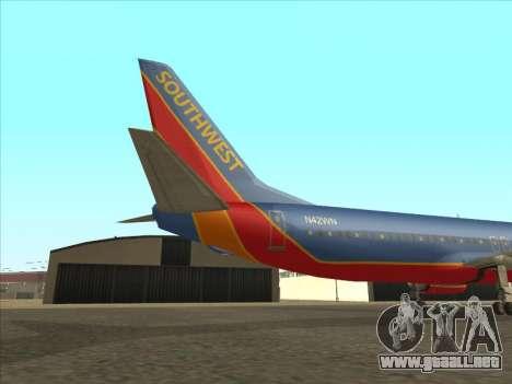 Boeing 737 Southwest Airlines para GTA San Andreas vista hacia atrás