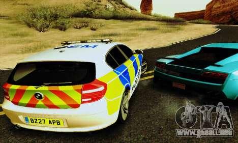 BMW 120i SE Police para visión interna GTA San Andreas