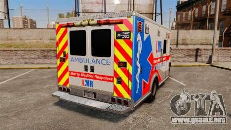 Brute Liberty Ambulance [ELS] para GTA 4 Vista posterior izquierda
