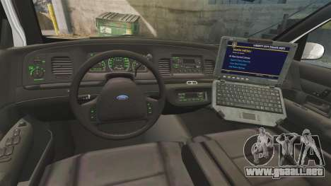 Ford Crown Victoria 1999 U.S. Border Patrol para GTA 4 vista hacia atrás