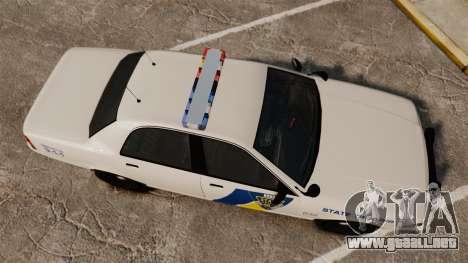 GTA V Vapid State Police Cruiser [ELS] para GTA 4 visión correcta