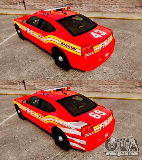 Dodge Charger LCFD Battalion Chief [ELS] para GTA 4 vista hacia atrás