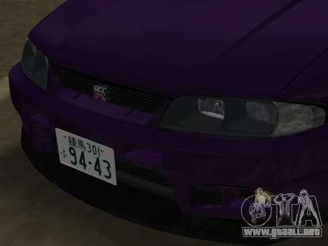 Nissan SKyline GT-R BNR33 para GTA Vice City vista lateral