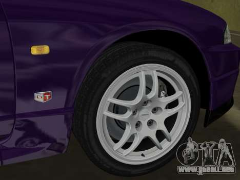 Nissan SKyline GT-R BNR33 para GTA Vice City vista interior