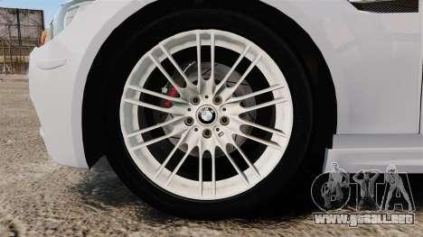 BMW M3 Unmarked Police [ELS] para GTA 4 vista hacia atrás