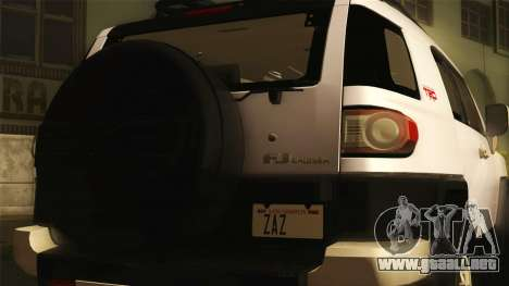 Toyota FJ Cruiser 2012 para GTA San Andreas vista posterior izquierda