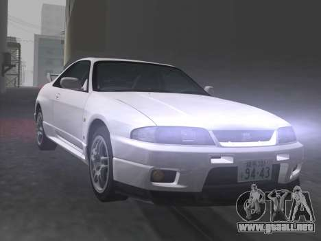 Nissan SKyline GT-R BNR33 para GTA Vice City vista desde abajo