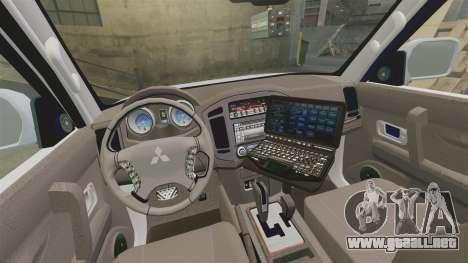 Mitsubishi Pajero Finnish Police [ELS] para GTA 4 vista interior