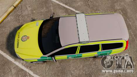 Volvo V70 Ambulance [ELS] para GTA 4 visión correcta