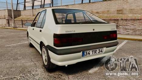 Renault 19 Europa para GTA 4 Vista posterior izquierda