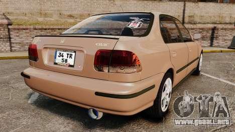 Honda Civic para GTA 4 Vista posterior izquierda