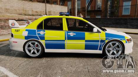 Mitsubishi Lancer Evolution IX Uk Police [ELS] para GTA 4 left