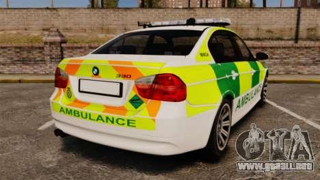 BMW 330i Ambulance [ELS] para GTA 4 Vista posterior izquierda