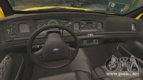 Ford Crown Victoria 1999 SF Yellow Cab para GTA 4 vista hacia atrás