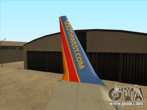 Boeing 737 Southwest Airlines para vista lateral GTA San Andreas