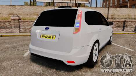 Ford Focus Estate 2009 Unmarked Police [ELS] para GTA 4 Vista posterior izquierda