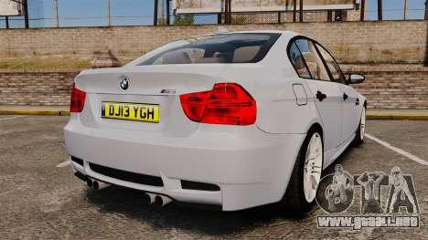 BMW M3 Unmarked Police [ELS] para GTA 4 Vista posterior izquierda