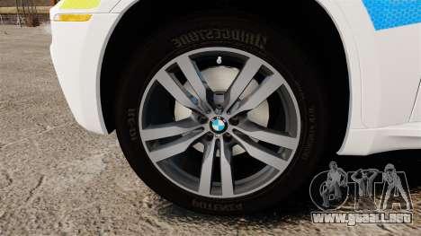 BMW X6 Lancashire Police [ELS] para GTA 4 vista hacia atrás