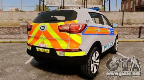 Kia Sportage Metropolitan Police [ELS] para GTA 4 Vista posterior izquierda
