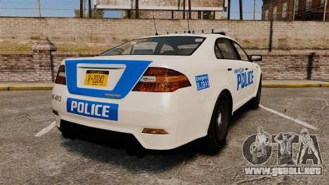 GTA V Vapid Police Interceptor LCPD [ELS] para GTA 4 Vista posterior izquierda