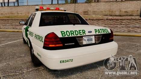 Ford Crown Victoria 1999 U.S. Border Patrol para GTA 4 Vista posterior izquierda