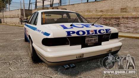 Vapid Police Cruiser v2.0 para GTA 4 Vista posterior izquierda