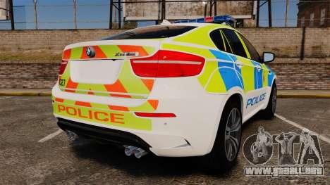 BMW X6 Lancashire Police [ELS] para GTA 4 Vista posterior izquierda