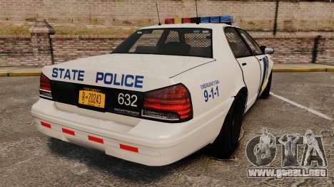 GTA V Vapid State Police Cruiser [ELS] para GTA 4 Vista posterior izquierda