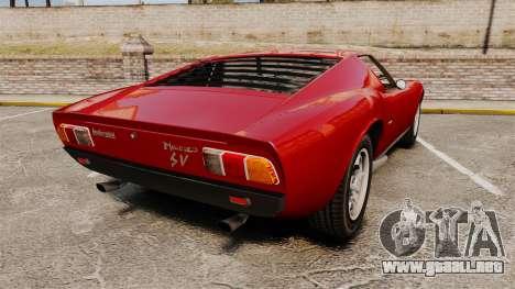 Lamborghini Miura P400 SV 1971 para GTA 4 Vista posterior izquierda