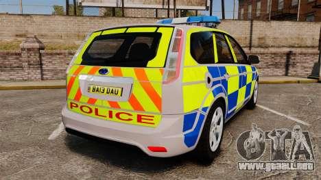 Ford Focus Estate 2009 Police England [ELS] para GTA 4 Vista posterior izquierda