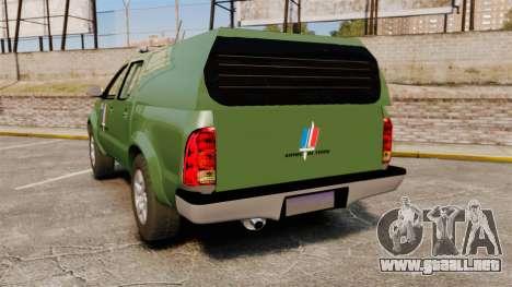 Toyota Hilux Land Forces France [ELS] para GTA 4 Vista posterior izquierda