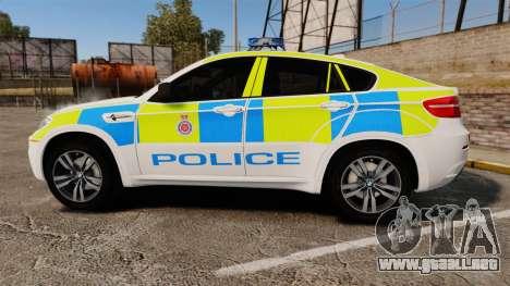 BMW X6 Lancashire Police [ELS] para GTA 4 left